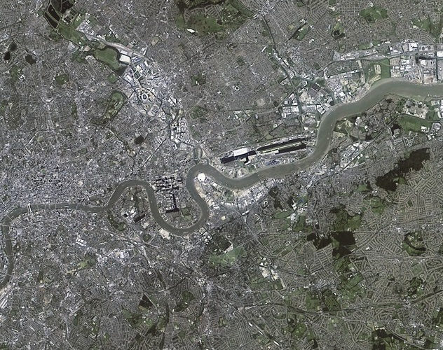 Acquired by NigeriaSat-2 a few days before the Olympics 2012, this image shows the East End of the city of London including the Olympic Park  to the North of the Thames, London City Airport, London's flood defence - the Thames Barrier, and the Millenium Dome. Credit: NASRDA