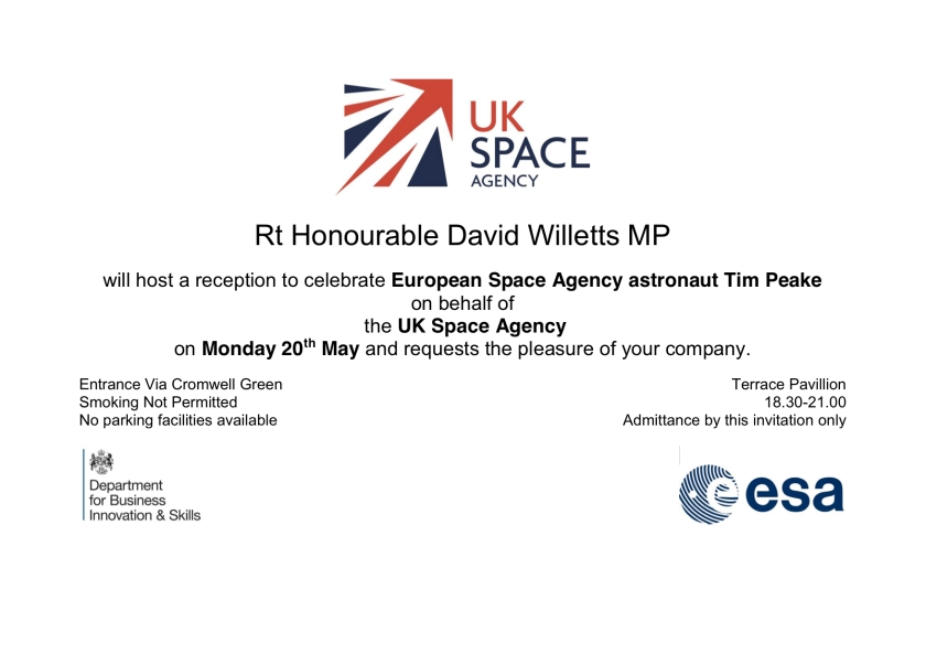 ESA Astronaut Announcement reception invitation