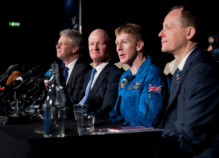 Thomas Reiter, David Willetts, Tim Peake and David Parker at National Science Museum press conference © Max Alexander 2013 Max Alexander/UK Space Agency