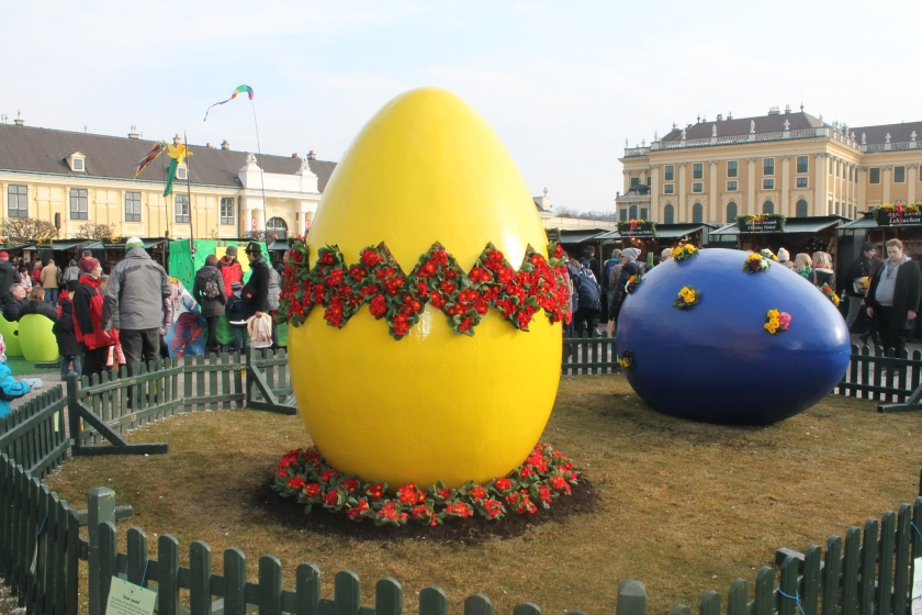 Giant Easter eggs displayed at Schoebrunn Palace Easter market.