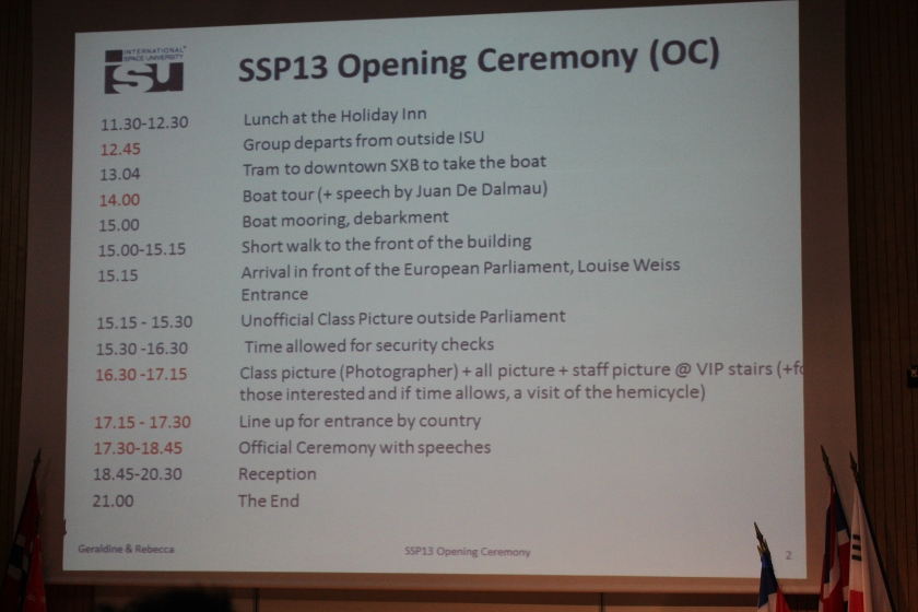 Opening ceremony itinerary