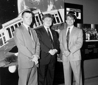 ISU founders: Peter H. Diamandis, Todd B. Hawley, Robert D. Richards on 12 April 1995. Credit: International Space University.