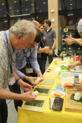 The Japanese showing us how to make sushi (Scott Madry, left)