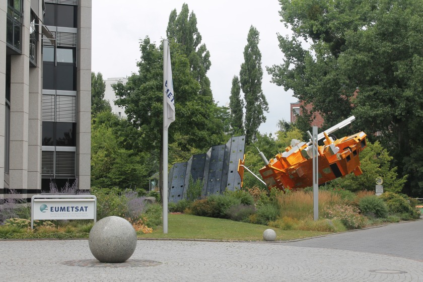 Outside EUMETSAT with Metop full-size model