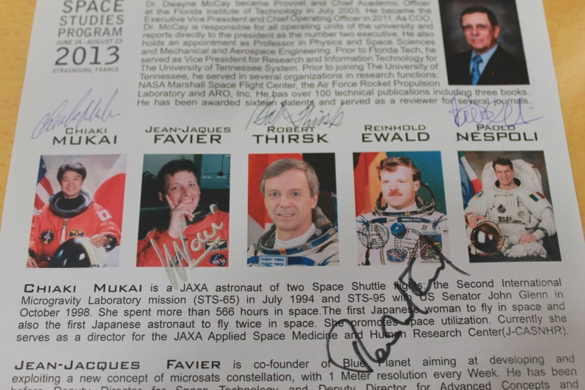Signed autographs by all the panel of astronauts.