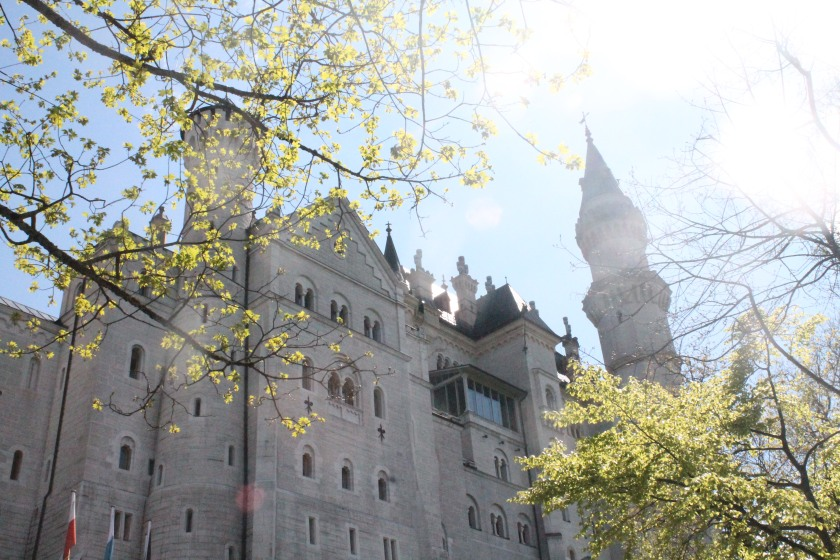A close-up view of Neuschwanstein among the bright sunshine during the tour. Credit: Ryan J. M. Laird
